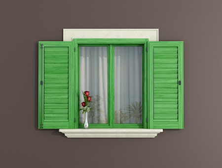 window curtains: detail of a green window with shutters open - rendering