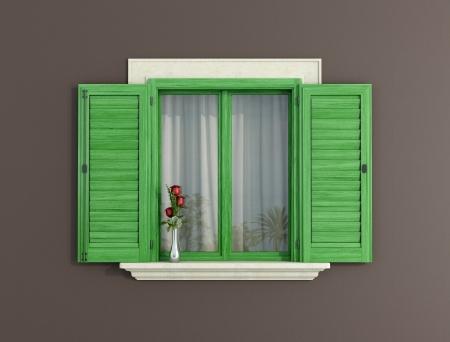 ventanas abiertas: detalle de una ventana con persianas verdes abiertos - representación