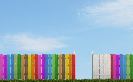 open gate: Colorful wooden fence with open gate on grass - rendering
