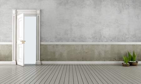 open doors: Empty vintage room with open old door - rendering Stock Photo