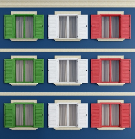 windows with the colors of the Italian flag - rendering Stock Photo - 17928925