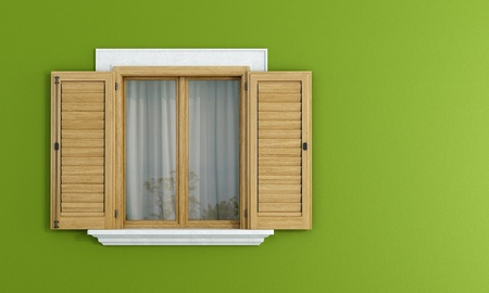 ventanas abiertas: Detalle de una ventana de madera con postigos abiertos en la pared verde - representación