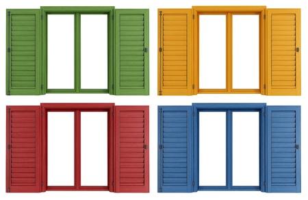 ventana abierta: Juego de cristal de colores aislados en el blanco - representación