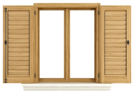 Wooden window with open shutter isolated on white - rendering Stock Photo