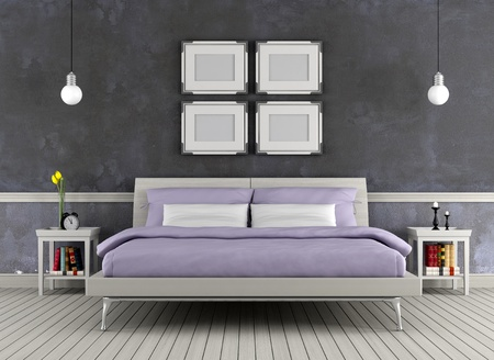 Modern double bed in a vintage room - rendering photo