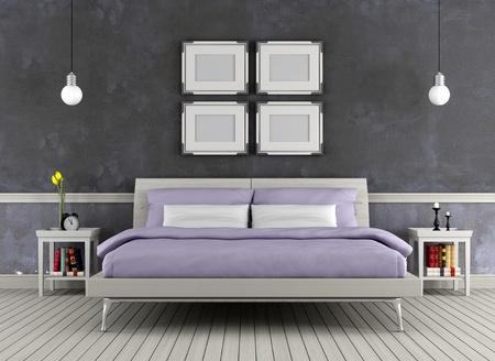 chambre � � coucher: Moderne lit double dans une chambre vintage - rendu Banque d'images