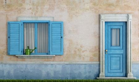 detail van een oud huis met blauwe houten ramen en voordeur - rendering