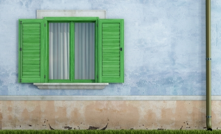detail of an old house with green  wooden window - rendering Stock Photo - 17997924