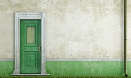 detail of an old house with green wooden  front door - rendering photo