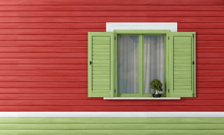 detail of a wooden house with green window - rendering Stock Photo - 17997921