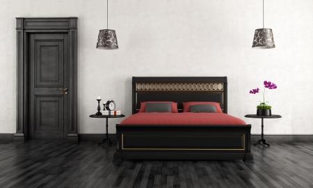 muebles de madera: Bedroom vintage negro y blanco - representaci�n Foto de archivo