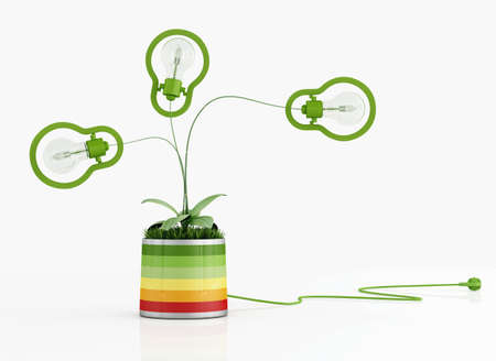 Energy efficiency concept with green lamp in a vase with grass on white background - rendering photo