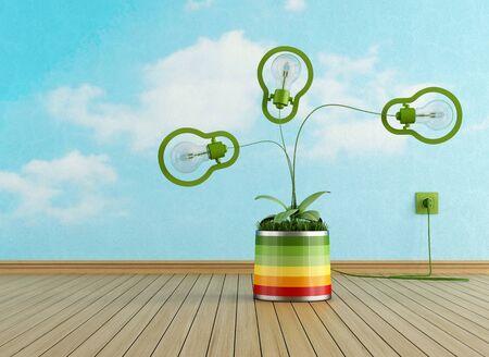 green light bulb: Energy efficiency concept with green lamp in a vase with grass- rendering
