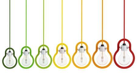 classification: Energy efficiency concept with multicolor light bulbs isolated on white - rendering