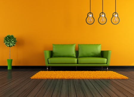 green couch: Contemporary livingroom with green couch and modern lamp- rendering Stock Photo