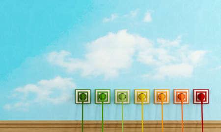 ahorros: Concepto de eficiencia energética con coloridos enchufes eléctricos en la pared cielo - representación