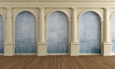 arcos de piedra: Amplia habitación de una casa de lujo de edad - la prestación Foto de archivo