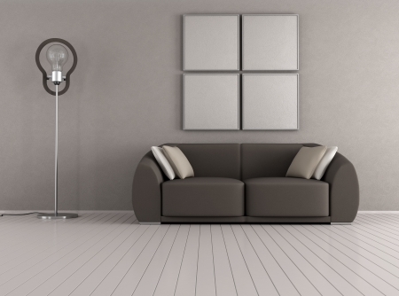 Brown couch in a minimalist livingroom with floor lamp - rendering photo