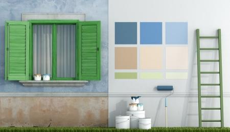 -古い家の壁の塗装にカラー スワッチを選択レンダリング 写真素材