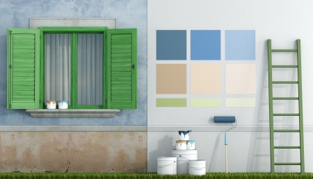 paint swatch: select color swatch to paint wall of an old house - rendering Stock Photo