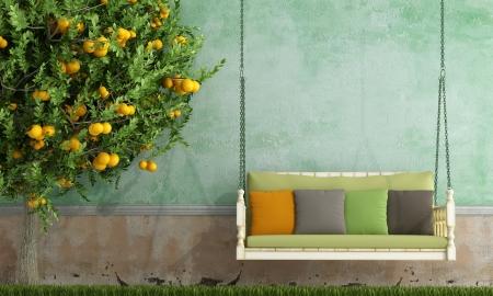 muro: Vintage altalena in legno nel giardino di una vecchia casa - rendering