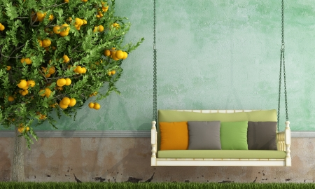 Vintage wooden swing in the garden of an old house - rendering