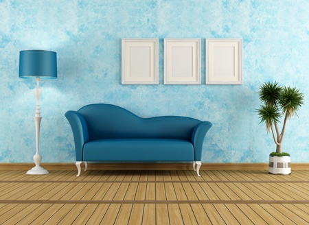 Blue living room with elegant couch - rendering Stock Photo - 18467804
