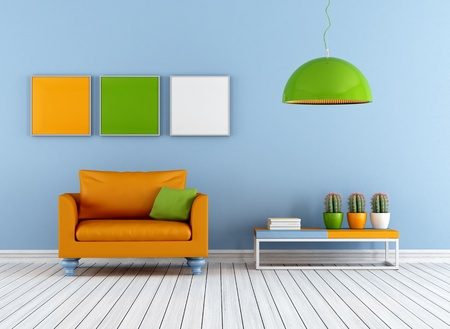 livingroom: Colorful living room with armchair - rendering