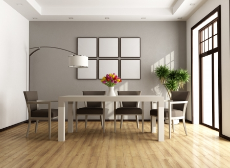 modern dining room: Contemporary beige and brown dining room - rendering Stock Photo