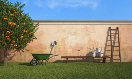 barrow: Vintage  garden with working tools in a sunny day - rendering