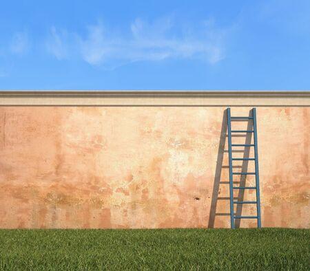 garden wall: wooden ladder against a grunge wall in a garden - rendering