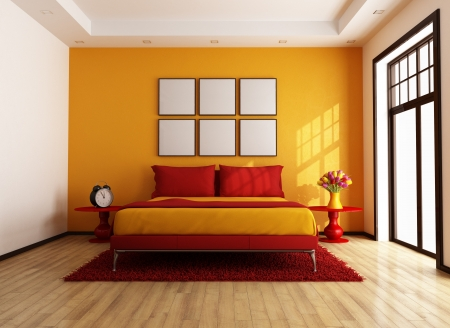 Modern red and orange bedroom - rendering - photo