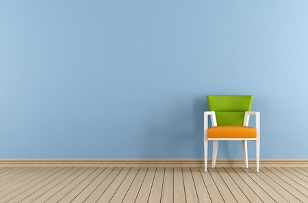 Blue interior with chair against blue wall - rendering  photo