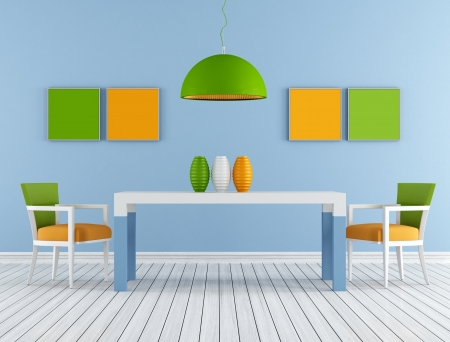 Minimalist Colorful modern dining room  - rendering photo