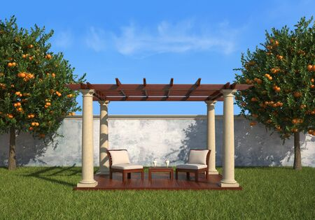 gazebo: Gazebo with two armchair and coffee table in a sunny garden