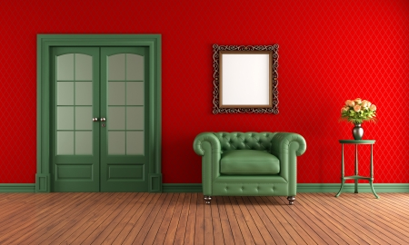 Red and green vintage room with armchair and sliding door Stock Photo - 18655737