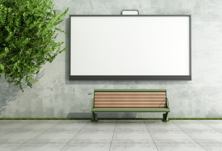 Blank street bilboard on grunge wall with bench - rendering photo