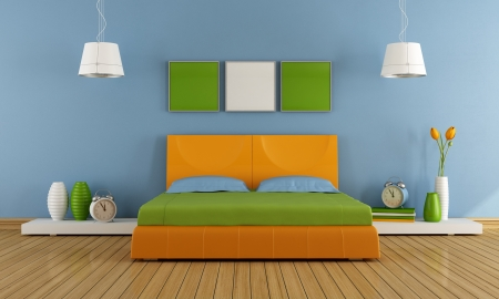 Contemporary  bedroom with colorful double bed - rendering photo
