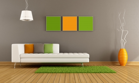 livingroom: Modern living room with white couch and colorful cushion - rendering Stock Photo