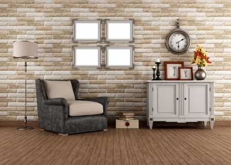 Vintage living room with armchair and dresser - rendering photo