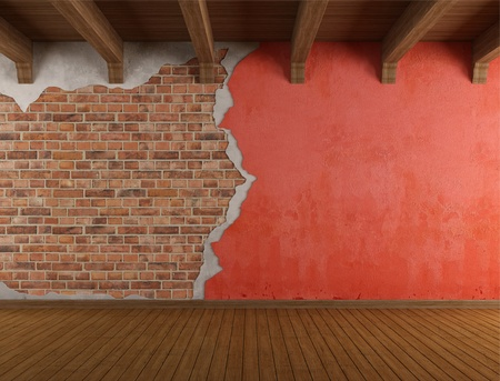 broken brick: Empty room with old cracked wall and wooden ceiling - rendering