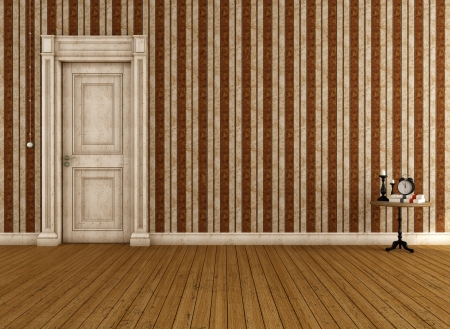 Vintage empty room with striped wallpaper and dirty door - rendering Stock Photo - 18957442