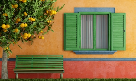 Colorful  old house with  wooden window and green bench - rendering