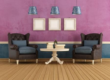 Vintage-Wohnzimmer Mit Zwei Sessel Und Kamin - Rendering ...