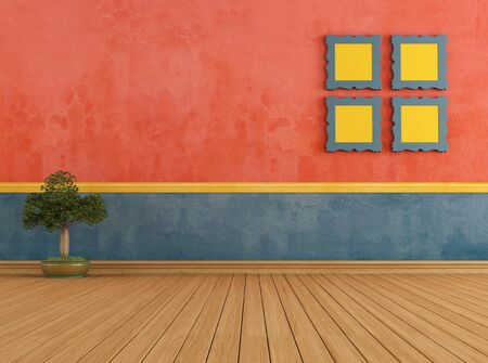 Colorful empty room with wooden floor and frame - render Stock Photo - 19066296
