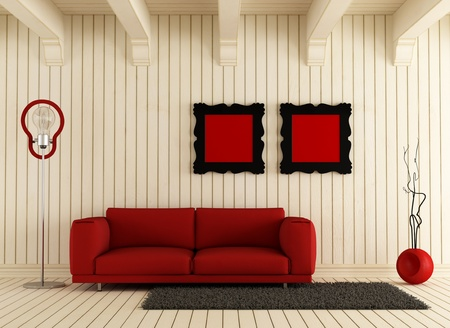 Red couch in a light wooden room - rendering photo