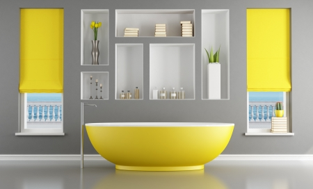 bathroom interior: Modern gray and yellow bathroom - rendering - the image on background is a my rendering composition