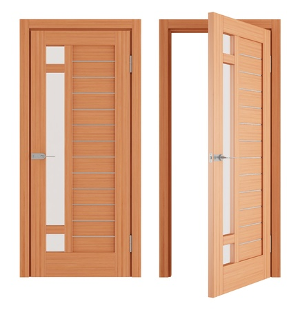 Wooden Doors isolated on white - rendering photo