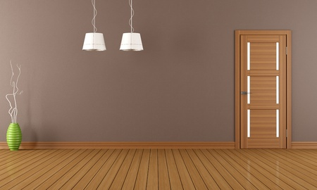 Empty room with closed wooden door - rendering photo