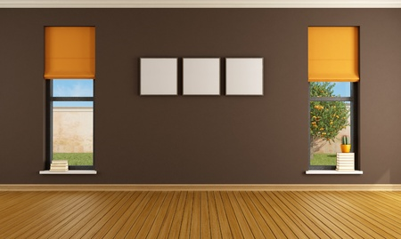 living room minimalist: Brown empty room with two windows - rendering- the image on background is a my rendering composition Stock Photo